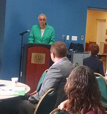 Picture of President Preckwinkle speaking at Brownfields workshop